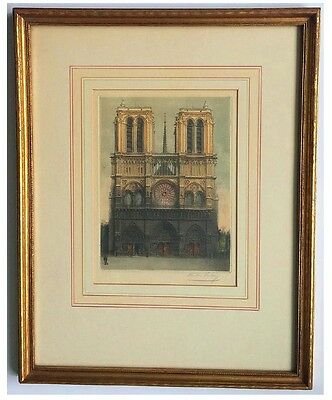Victor Valery Signed Colored Copper Plate Etching of Notre Dame Cathredral