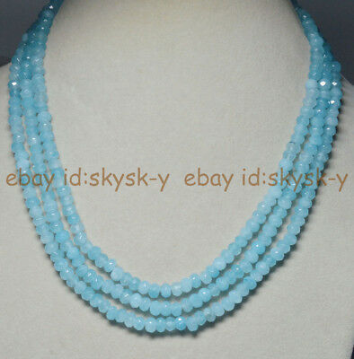 """3Rows Natural 4X6mm Faceted Blue Aquamarine Rondelle Beads Gems Necklaces 17-19"""""""