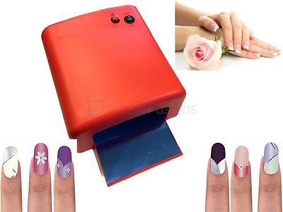 Red Uv Lamp Nail Art Gel Curing Tube Light Dryer White With Timer Function 36W