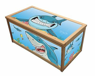 Shark Treasure Wooden Toy Box / Storage Unit For Children Kids Toys Chest Boxes