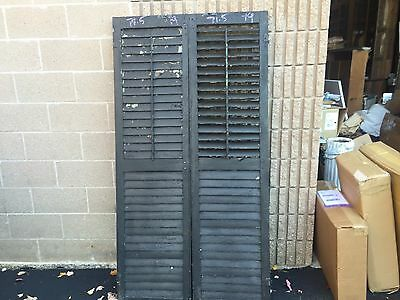 """PAIR LATE VICTORIAN louvered house window shutters 71.5"""" X 19"""" w BLACK paint"""