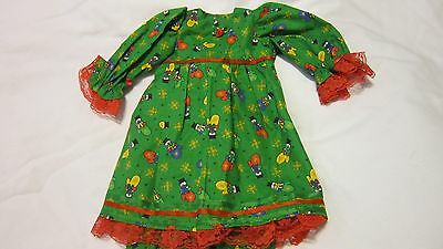 "Green Snowman Mittens Dress/Bloomers Fits 17"" Lee Middleton, 15"" AG Bitty Baby"