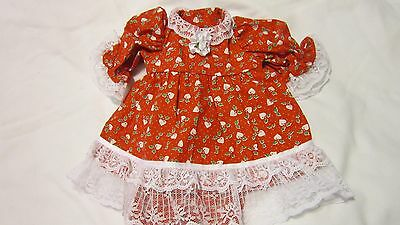 "Red w/ Hearts & Holly Dress/Bloomers Fits 17"" Lee Middleton, 15"" AG Bitty Baby"