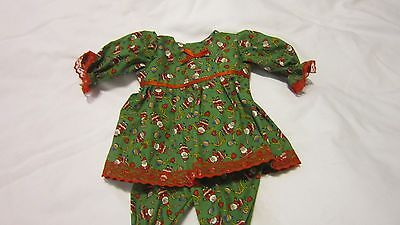 """Green w/Tiny Santas Dress/Bloomers Fits 17"""" Lee Middleton, 15"""" AG Bitty Baby"""
