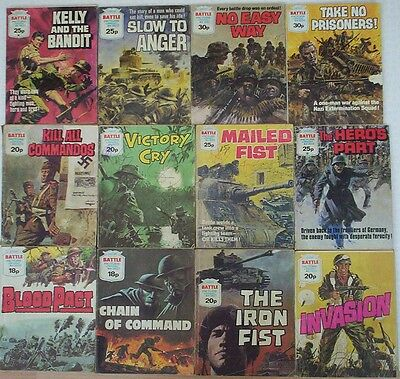 Dated 1980's. JOB LOT of 12 x BATTLE Picture Library War Comics  #'s 1400 - 1684