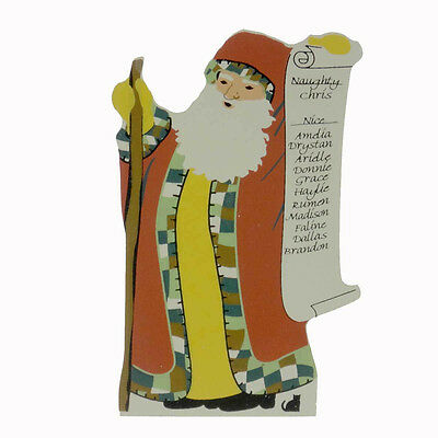 Cats Meow NAUGHTY OR NICE SANTA STANDING Pressed Wood Christmas 11601