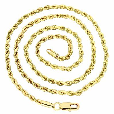 """Thin Rope Mens Womens Chain 14k Gold Plated 18""""- 36"""" Necklace"""