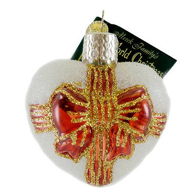 Old World Christmas DOVE HEART Glass Ornament Inside Out Art Wedding 99156