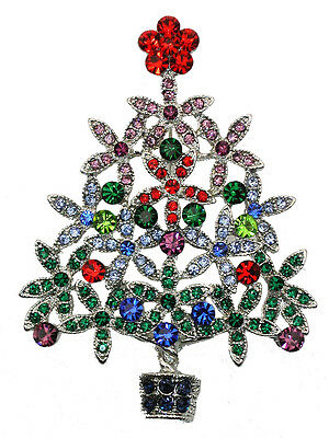 Christmas Tree Pin Brooch Gorgeous Multicolors Crystal