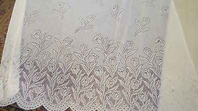 Vintage Off White/Beige Floral Lace Shower Curtain w/ Valance