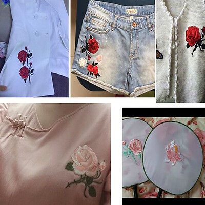 NEW 2pcs RED ROSE FLOWER Applique EMBROIDERY IRON ON PATCH BADGE E7