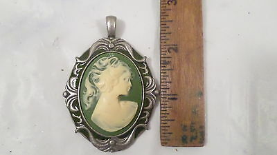 Vintage Green Cameo Pendant in Silver w/Green Enamel Frame