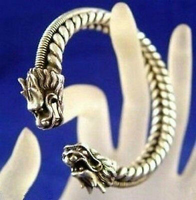 hot Lucky Tibet carved dragon Miao silver bracelet