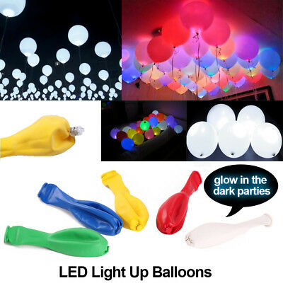 50-200 Pack LED Balloons Light Up Xmas PARTY Decoration Wedding Birthday NEW