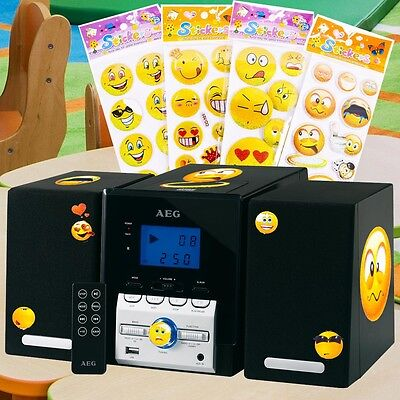 Kompakt Stereo Musik Anlage schwarz USB MP3 Radio Fernbedienung Smiley Sticker