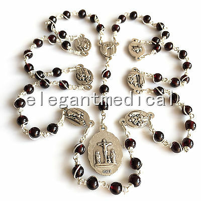 925 Silver Wire Wrap Garnet Gemstone Beads mary SEVEN 7 SORROWS ROSARY NECKLACE
