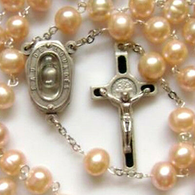 Real Pearls Lourdes Water MEDAL ROSARY Italy CROSS CRUCIFIX CATHOLIC NECKLAC box