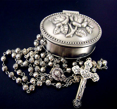 Silver rose beads Catholic 5 DECADE Rosary case Cross Gift Rose Box Italy Cross