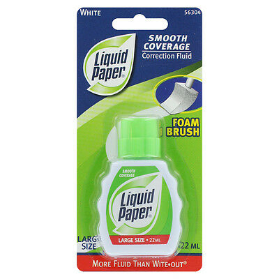 3 Liquid Paper Smooth Coverage Correction Fluid, White