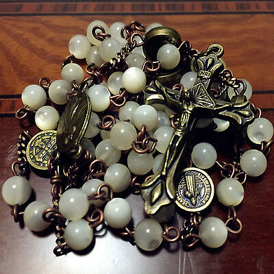 * Vintage Mother of Pearl CATHOLIC 5 DECADE ROSARY Beads necklace bronze Cross
