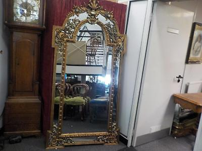 """Antique Style Large Tall Gold Gilt Bevelled Edge Mirror Height 6 1/2"""" Feet"""