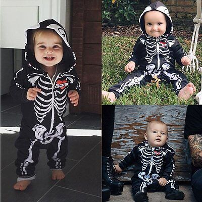 Halloween Baby Boys Girls Newborn Skeleton Bodysuit Romper Jumpsuit Outfit 0-24M