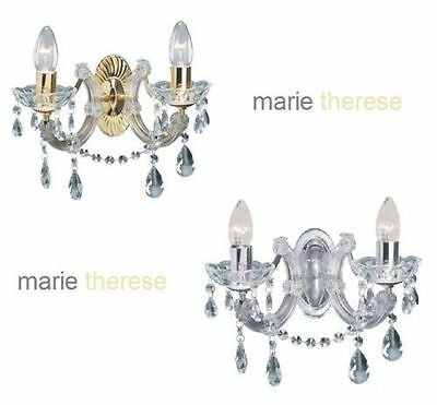 Marco Tielle Marie Therese Glass Crystal Wall Light in Polished Brass or Chrome