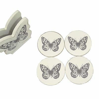 Set Of 4 Round Butterfly Coasters With Holder White Grey