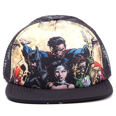 Official Justice League Snapback Trucker Baseball Hat - Dark Night DC Comics New