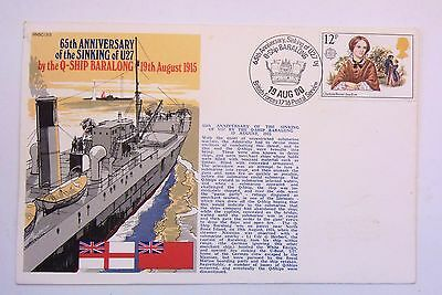 GREAT BRITAIN FDC 65th ANNIVERSARY OF THE SINKING OF U27 1915 - 1980