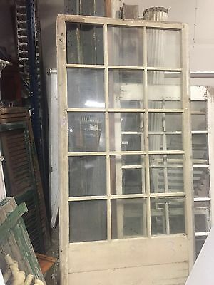 c1890-1900 HUGE porch WINDOW frame PANEL 15 panes OLD glass crackled paint 95.5""
