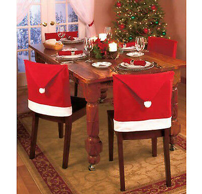 Set of Christmas Red Santa Hat Dinner Table Chair Covers Runner Cloth Leg Covers