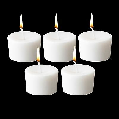 5 White Votive Wax Unscented Candles Tea light Soft Elegant Home Patio Lighting