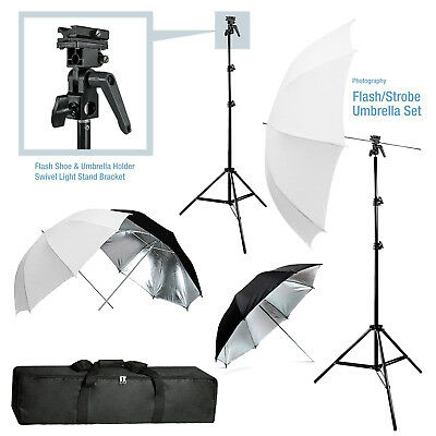 StudioPRO Studio Flash Bracket 2x Translucent Black/Silver Umbrella Photo Kit