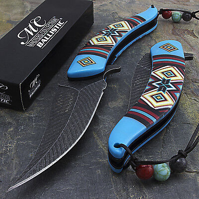 """8.5"""" DAMASCUS STYLE BLUE SPRING ASSISTED FOLDING POCKET KNIFE EDC Open Assist"""