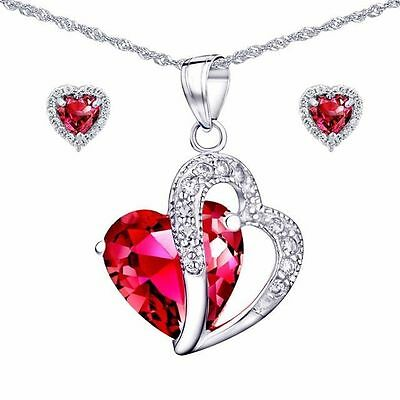 """Created Red Ruby Gemstone Pendant Necklace Earring Set Sterling Silver 18"""" Chain"""