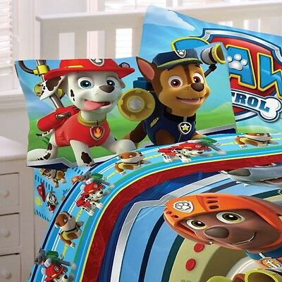 nEw PAW PATROL BED SHEET SET - Puppy Heroes Chase Marshall Rocky Bedding