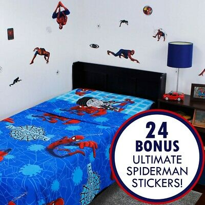 ULTIMATE SPIDERMAN TWIN BED SHEET STICKER SET Marvel Comics Wall Decals Bedding