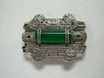 Vintage Art Deco Silver & Marcasite Brooch Pin W Green Bar Gem ~ Made In France