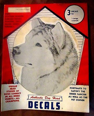 3 Vintage ALASKAN MALAMUTE Siberian Husky Dog Head DECALS Pet Supply Imports
