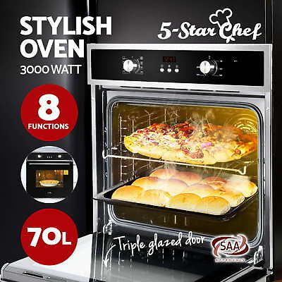 60cm 70L Electric Built In Wall Oven Grill Stainless Steel Fan Forced Glass 8F