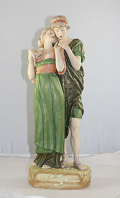 Huge Royal Dux Figurine Of Classical Lovers