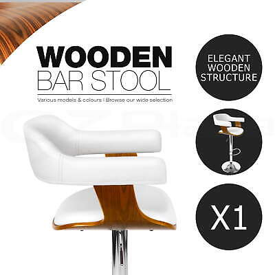 Wooden Bar Stool Kitchen Barstool Cafe Dining Chair PU Leather White 8006
