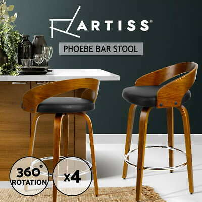 4x Wooden Bar Stools Swivel Barstool Kitchen Dining Chair Wood Black 8565