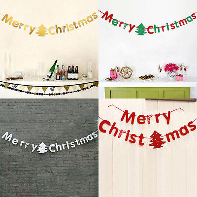 Merry Christmas Bunting Garland Banner Hanging Flag Shop Home Party Decor