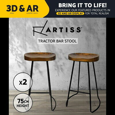 2x Vintage Tractor Bar Stool Retro Barstool Industrial Dining Chair 75cm Wood