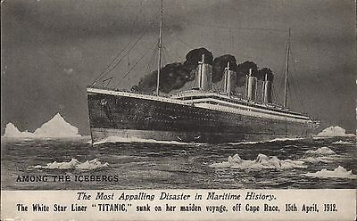 White Star SS Titanic by Valentine's. Among the Icebergs.