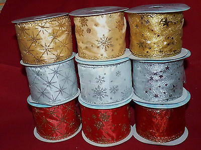 Organza/satin Wired Star Or Snowflake Christmas Ribbon 63Mm # Red/gold/silver