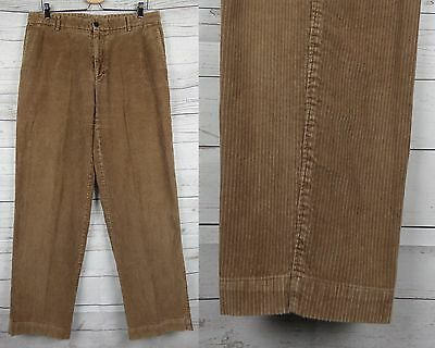 Vtg Brown 1990s Tapered Corduroy Cord Trousers W34 L33 DE80