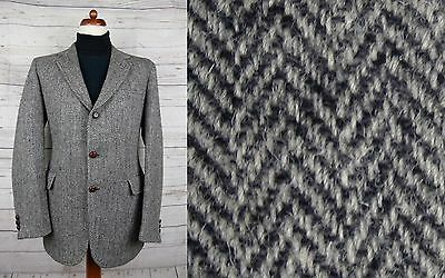 Vtg 70s / 80s 3 Button Herringbone Weave Harris Tweed Jacket -42- DE84